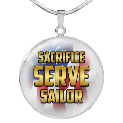 Sacrifice, Serve, Sailor(gold) | Circle Necklace Jewelry Luxury Necklace (Silver) No