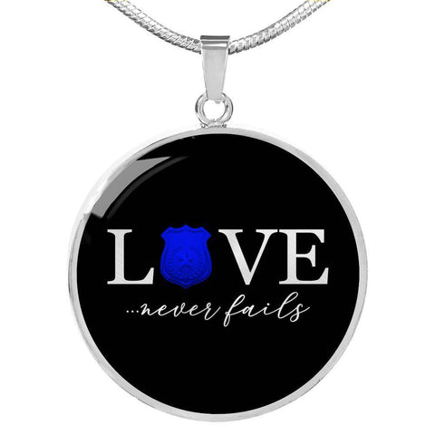 Love Never Fails, Police | Circle Necklace Jewelry Luxury Necklace (Silver) No