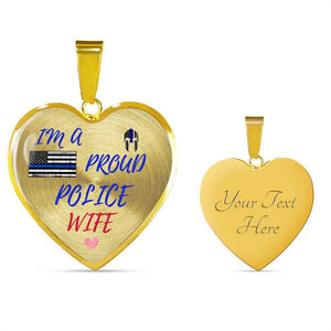 Proud Police Wife Jewelry Luxury Necklace (Gold) Yes
