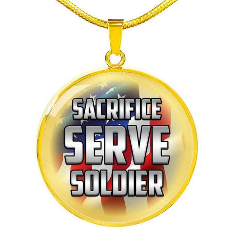 Image of Sacrifice, Serve, Soldier(silver) | Circle Necklace Jewelry Luxury Necklace (Gold) No