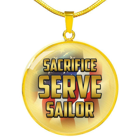 Sacrifice, Serve, Sailor(gold) | Circle Necklace Jewelry Luxury Necklace (Gold) No
