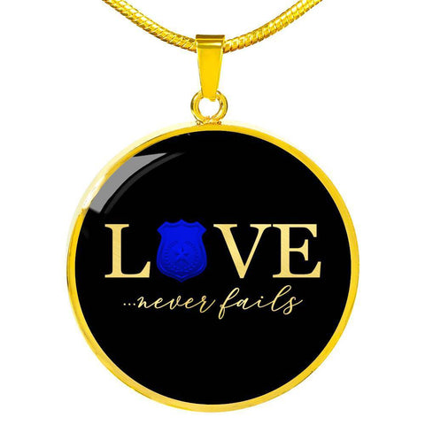 Love Never Fails, Police | Circle Necklace Jewelry Luxury Necklace (Gold) No