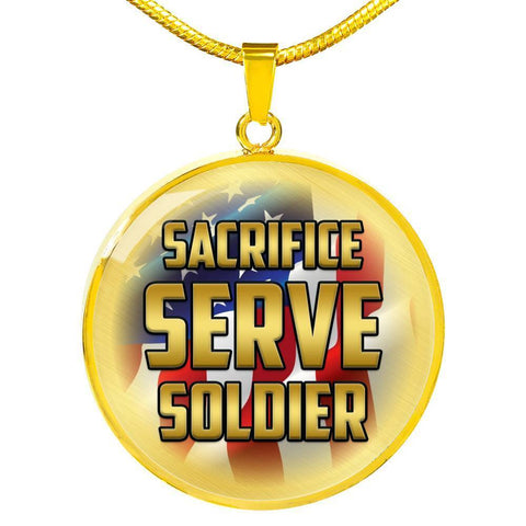 Sacrifice, Serve, Soldier(gold) | Circle Necklace Jewelry Luxury Necklace (Gold) No