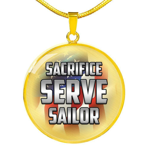 Sacrifice, Serve, Sailor(silver) | Circle Necklace Jewelry Luxury Necklace (Gold) No