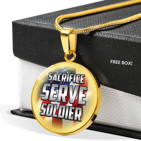 Sacrifice, Serve, Soldier(silver) | Circle Necklace Jewelry