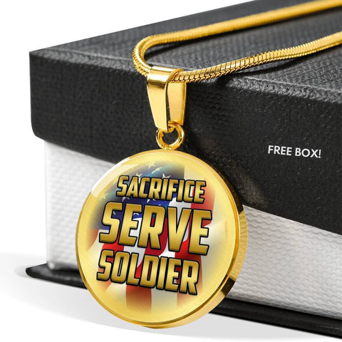 Sacrifice, Serve, Soldier(gold) | Circle Necklace Jewelry
