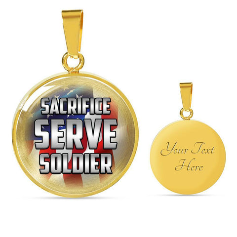 Image of Sacrifice, Serve, Soldier(silver) | Circle Necklace Jewelry Luxury Necklace (Gold) Yes