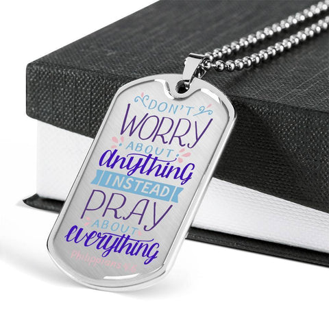 Image of Don't Worry! Philippians 4:6 Jewelry Military Chain (Silver) No