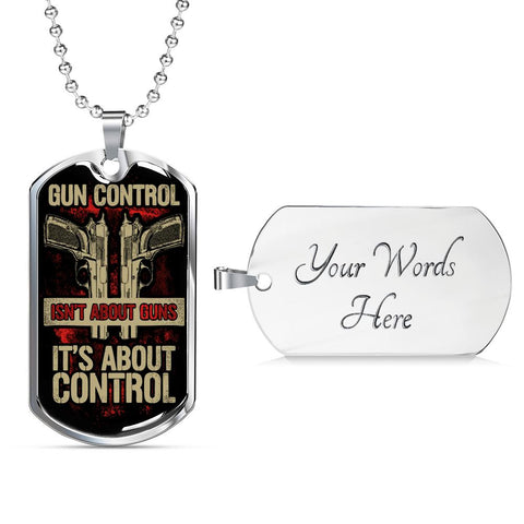 Gun Control Dog Tag Jewelry Military Chain (Silver) Yes
