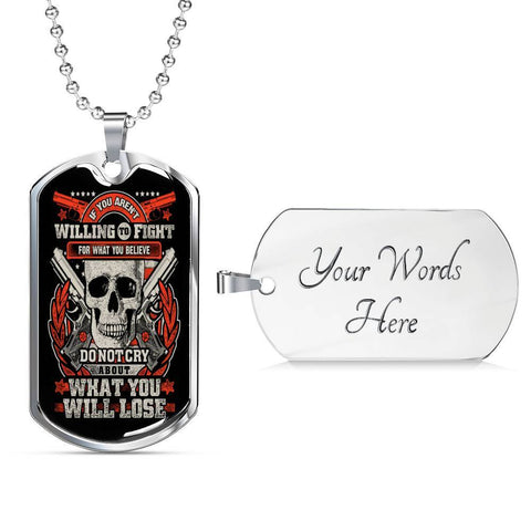 Fight for What You Believe Dog Tag Jewelry Military Chain (Silver) Yes