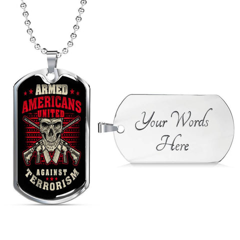 Armed Americans Against Terrorism Dog Tag Jewelry Military Chain (Silver) Yes