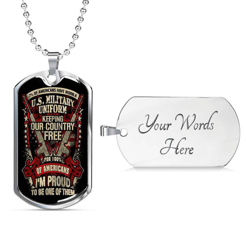 Proud Veteran Dog Tag Jewelry Military Chain (Silver) Yes
