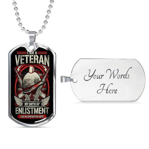 Oath of Enlistment Dog Tag Jewelry Military Chain (Silver) Yes