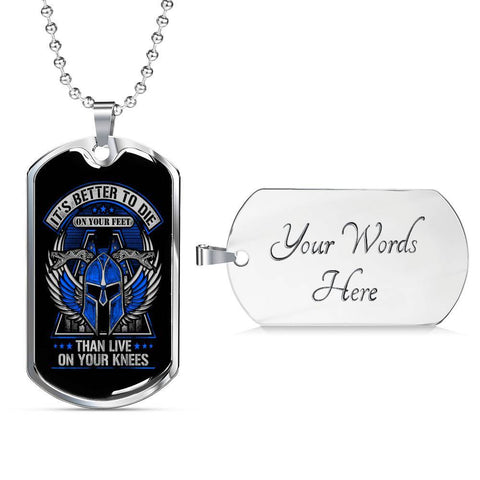 Die on Your Feet, V2 Dog Tag Jewelry Military Chain (Silver) Yes