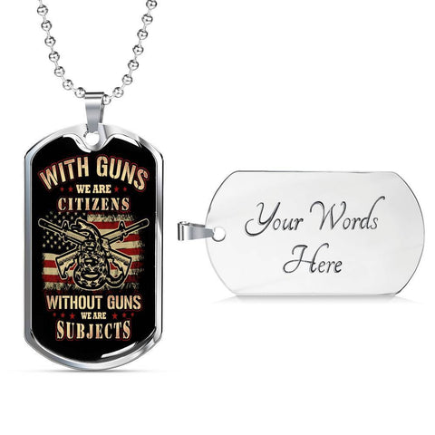 Citizen or Subject Dog Tag Jewelry Military Chain (Silver) Yes