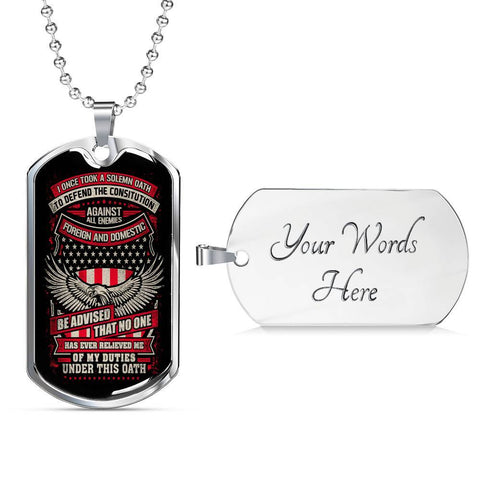 Defend the Constitution From All Enemies Dog Tag Jewelry Military Chain (Silver) Yes