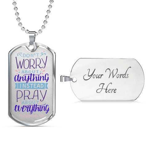 Image of Don't Worry! Philippians 4:6 Jewelry Military Chain (Silver) Yes