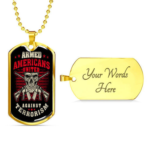 Armed Americans Against Terrorism Dog Tag Jewelry Military Chain (Gold) Yes