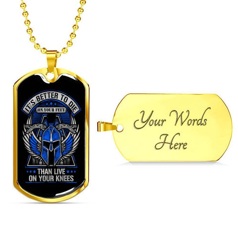 Die on Your Feet, V2 Dog Tag Jewelry Military Chain (Gold) Yes