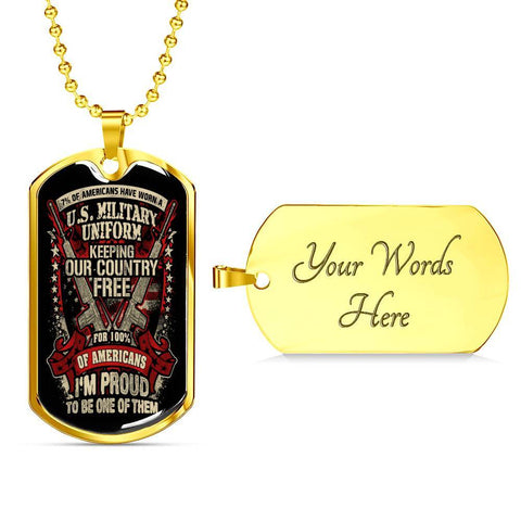 Proud Veteran Dog Tag Jewelry Military Chain (Gold) Yes