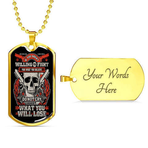 Fight for What You Believe Dog Tag Jewelry Military Chain (Gold) Yes