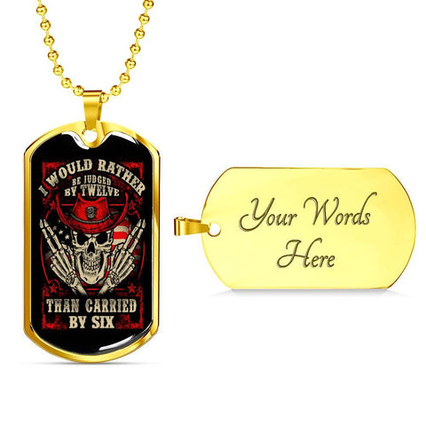 Judged By Twelve, V2 Dog Tag Jewelry Military Chain (Gold) Yes