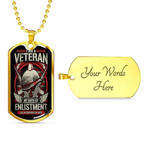 Oath of Enlistment Dog Tag Jewelry Military Chain (Gold) Yes