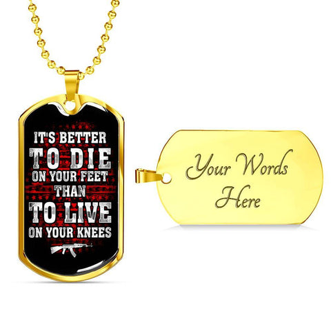 Die On Your Feet Dog Tag Jewelry Military Chain (Gold) Yes