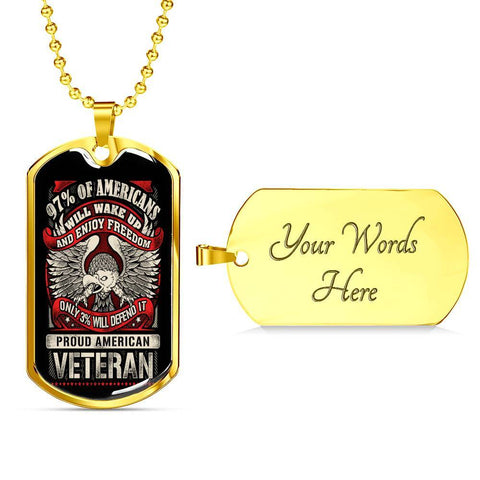 Defender of Freedom Dog Tag Jewelry Military Chain (Gold) Yes