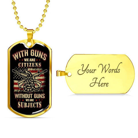 Citizen or Subject Dog Tag Jewelry Military Chain (Gold) Yes