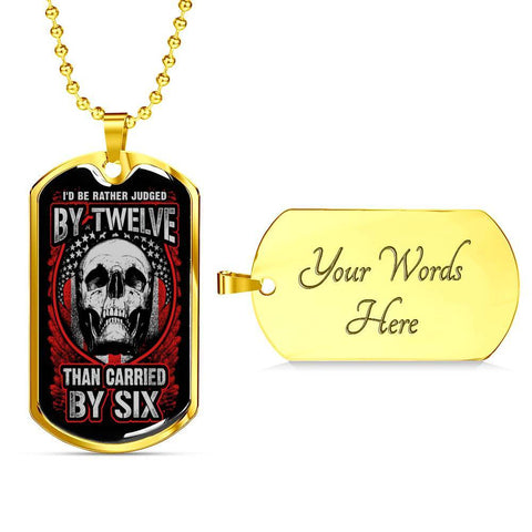 Judged By Twelve Dog Tag Jewelry Military Chain (Gold) Yes