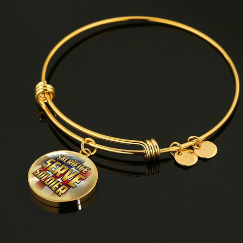 Sacrifice, Serve, Soldier(gold) | Circle Bangle Jewelry
