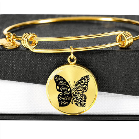 Butterflies Black and White Circle Bangle Jewelry Luxury Bangle (Gold) No