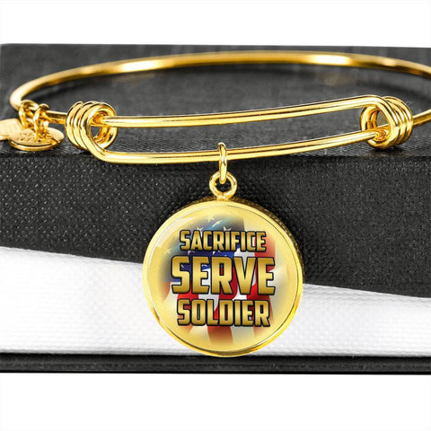 Sacrifice, Serve, Soldier(gold) | Circle Bangle Jewelry Luxury Bangle (Gold) No