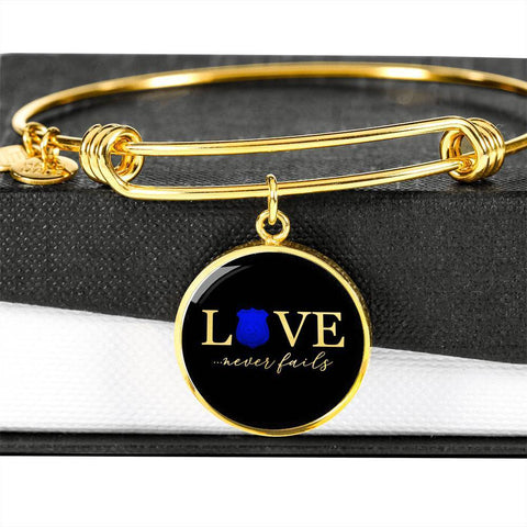 Love Never Fails, Police | Circle Bangle Jewelry Luxury Bangle (Gold) No