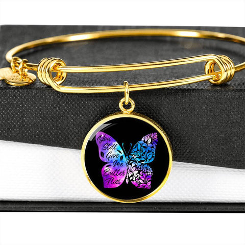 Butterflies Color Circle Bangle Jewelry Luxury Bangle (Gold) No