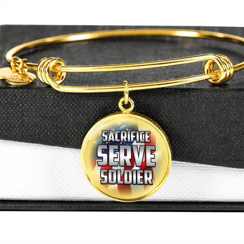 Sacrifice, Serve, Soldier(silver) | Circle Bangle Jewelry Luxury Bangle (Gold) No