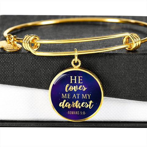 Loves me at my Darkest Color Circle Bangle Jewelry Luxury Bangle (Gold) No
