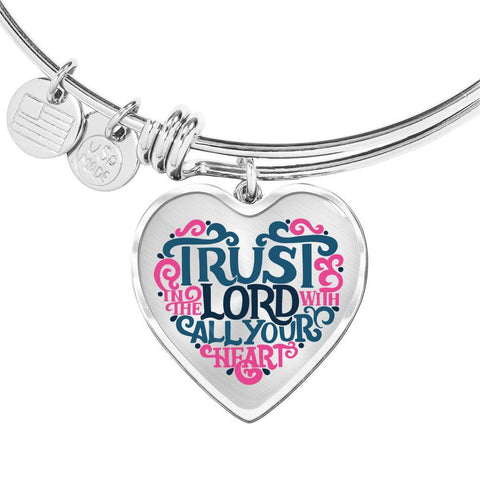 Image of Trust in the Lord Bangle with Heart Charm Clear Jewelry Heart Pendant Silver Bangle No