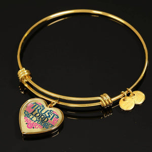 Trust in the Lord Bangle with Heart Charm Clear Jewelry
