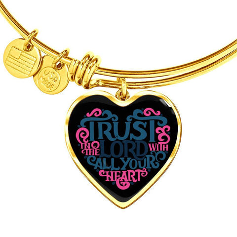 Image of Trust in the Lord Bangle with Heart Charm Black Jewelry Heart Pendant Gold Bangle No