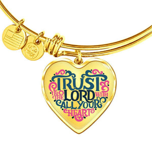 Trust in the Lord Bangle with Heart Charm Clear Jewelry Heart Pendant Gold Bangle No