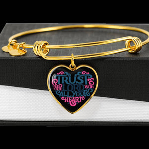 Trust in the Lord Bangle with Heart Charm Black Jewelry