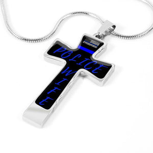 Police Wife Cross with Thin Blue Line Jewelry