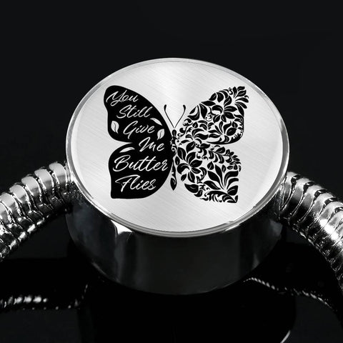 Butterflies Black and White Circle with Durable Steel Bracelet Jewelry S/M Bracelet & Charm No
