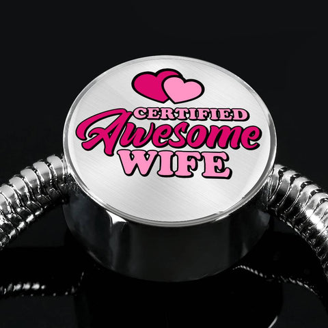 Certified Awesome Wife Circle with Durable Steel Bracelet Jewelry S/M Bracelet & Charm No