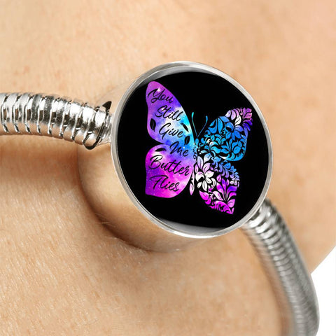 Butterflies Color Circle with Durable Steel Bracelet Jewelry