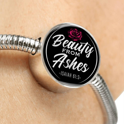 Beauty From Ashes Black Circle with Durable Steel Bracelet Jewelry
