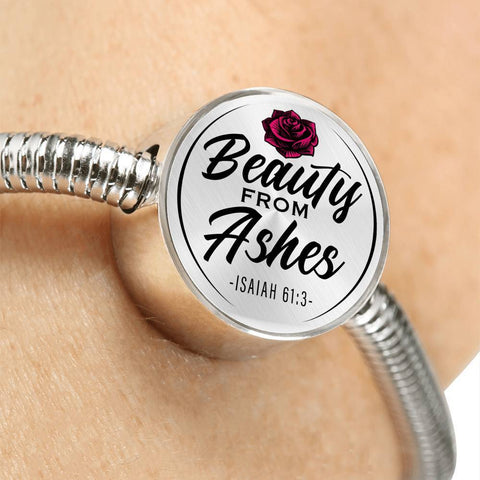 Beauty From Ashes White Circle with Durable Steel Bracelet Jewelry