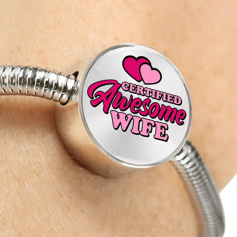 Certified Awesome Wife Circle with Durable Steel Bracelet Jewelry